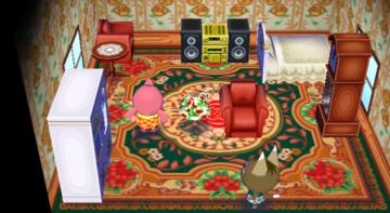 Interior of Kitty's house in Animal Crossing: City Folk