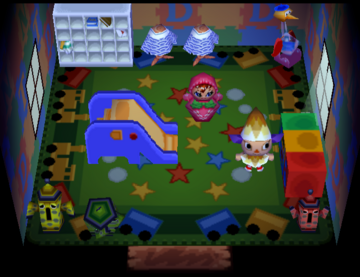 Interior of Peaches's house in Animal Crossing