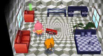 Interior of Tabby's house in Animal Crossing: City Folk