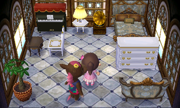 Interior of Annalise's house in Animal Crossing: New Leaf