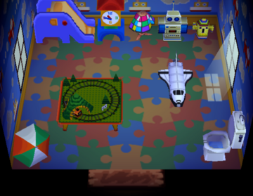 Interior of Roald's house in Animal Crossing