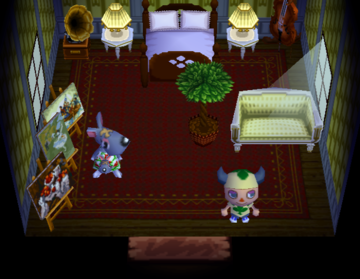 Interior of Valise's house in Animal Crossing