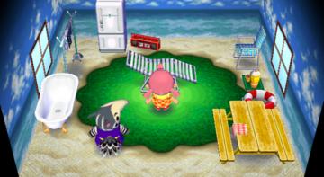 Interior of Antonio's house in Animal Crossing: City Folk