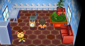 Interior of Champ's house in Animal Crossing: City Folk