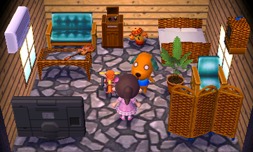 Interior of Biskit's house in Animal Crossing: New Leaf
