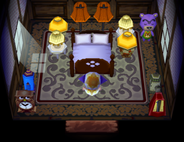 Interior of Dozer's house in Animal Crossing