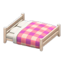 Wooden Double Bed (White Wood - Pink)