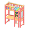 Loft Bed with Desk (Pink - Green Stripes) NH Icon.png