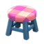 Wooden Stool (Blue - Pink)
