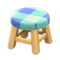Wooden Stool (Light Wood - Blue) NH Icon.png