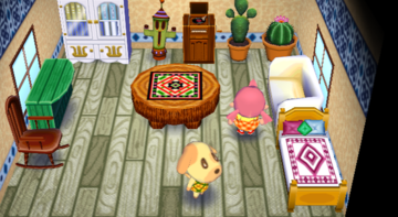 Interior of Goldie's house in Animal Crossing: City Folk