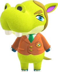 Hippeux, an Animal Crossing villager.