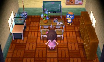 Interior of Derwin's house in Animal Crossing: New Leaf