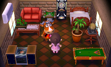 Interior of Angus's house in Animal Crossing: New Leaf