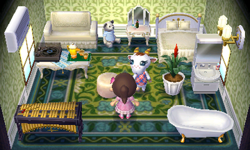 Interior of Chevre's house in Animal Crossing: New Leaf