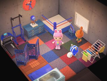 Interior of Agent S's house in Animal Crossing: New Horizons