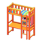 Loft Bed with Desk (Orange - Green Stripes) NH Icon.png