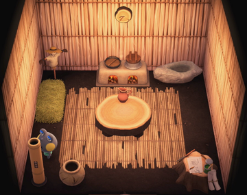 Interior of Huck's house in Animal Crossing: New Horizons
