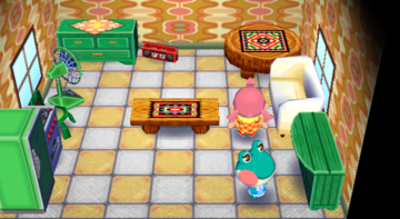 Interior of Lily's house in Animal Crossing: City Folk