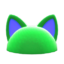 Flashy Pointy-Ear Animal Hat (Green) NH Icon.png