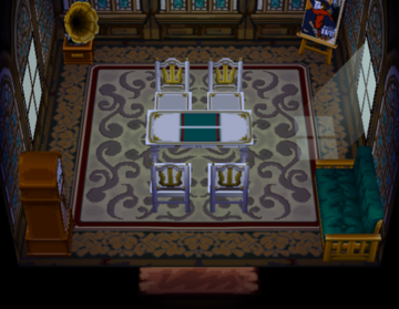 Interior of Elmer's house in Animal Crossing