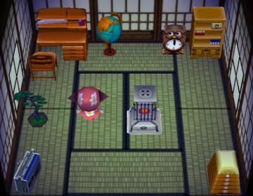 Interior of Hambo's house in Animal Crossing