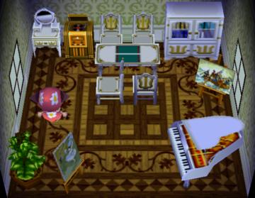 Interior of Yuka's house in Animal Crossing