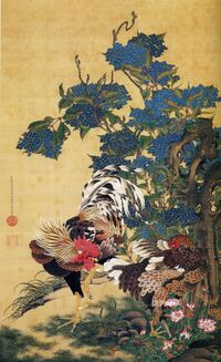 Rooster and Hen with Hydrangeas.jpg