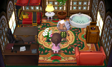 Interior of Lionel's house in Animal Crossing: New Leaf
