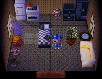 Interior of Poncho's house in Animal Crossing