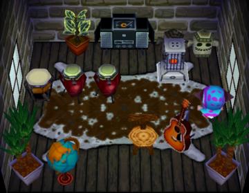 Interior of Lobo's house in Animal Crossing