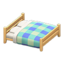 Wooden Double Bed (Light Wood - Blue)