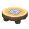 Log Round Table (Dark Wood - Quilted) NH Icon.png