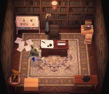 Interior of Dobie's house in Animal Crossing: New Horizons