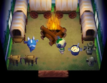 Interior of Sven's house in Animal Crossing