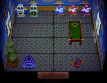 Interior of Woolio's house in Animal Crossing