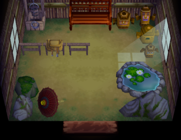 Interior of Coco's house in Animal Crossing