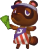 Tom Nook hosting the lottery.