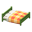 Wooden Double Bed (Green - Orange)