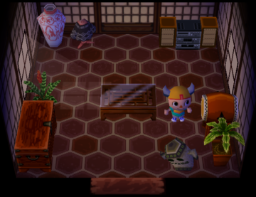 Interior of Fang's house in Animal Crossing