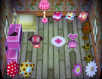 Interior of Midge's house in Animal Crossing