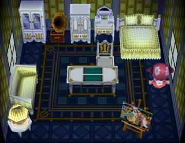 Interior of Pierce's house in Animal Crossing