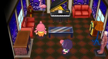 Interior of Gloria's house in Animal Crossing: City Folk