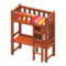 Loft Bed with Desk (Brown - Red Stripes) NH Icon.png