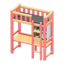 Loft Bed with Desk (Pink - Black)