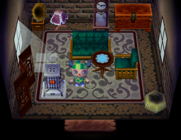 Interior of Buck's house in Animal Crossing