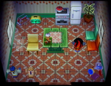 Interior of Carrie's house in Animal Crossing