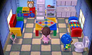 Interior of Hugh's house in Animal Crossing: New Leaf