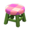 Wooden Stool (Green - Pink) NH Icon.png
