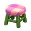 Wooden Stool (Green - Pink)